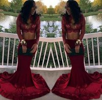 Wholesale dark green crop top - Sexy Keyhole Neck Two Pieces Mermaid Lace Prom Dresses 2018 Sheer Long Sleeves Burgundy Satin Prom Dress Cheap Crop Top Formal Dresses