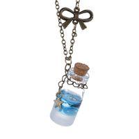 Wholesale Tear Bottle Necklace - Wholesale-Newe Fashion Sea Ocean Glass Bottle Pendant Mermaid Tears Shells Star Vial Necklace