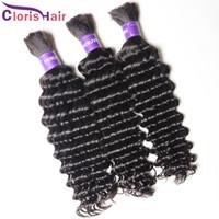 Wholesale deep wave human braiding hair resale online - Raw Indian Curly Human Hair Bulk bundles Unprocessed Deep Wave Hair Extensions In Bulk No Weft For Braiding Soft Human Hair Bulk