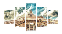 Wholesale Tower Building Wall Decor - 5pcs set Unframed Eiffel Tower Cultural Building Landscape Print On Canvas Wall Art Picture For Home and Living Room Decor