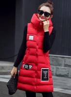 Wholesale Womens Plus Size Down Vests - Pinky Is Black Women Winter Vest Waistcoat Womens Long Vest Sleeveless Jacket Hooded Down Cotton Warm Female Plus Size Causal