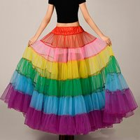 Wholesale Cheap Petticoats For Women - Rainbow Organza Skirts For Women 100 CM Floor Length Tutu Skirt Wholesale Long Petticoat Cheap Crinoline Wedding Accessories 2017