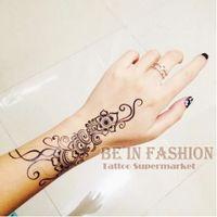 Wholesale Black Henna Hand Tattoos - Wholesale- 1piece Indian Arabic Trendy henna black tattoos temporary waterproof for arm shoulder hand flower fake tatoo sticker QS-C004