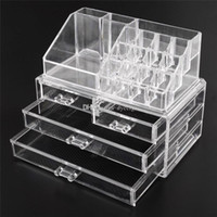 Wholesale Clear Cosmetic Makeup Organizer Box - Acrylic Cosmetic Makeup Organizer Jewelry Display Boxes Bathroom Storage Case 2 Pieces Set W  4 Large Drawers