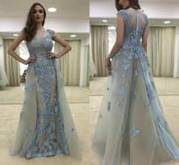Wholesale new fashion 3d short dresses - Vestidos Arabic Evening Dresses 2017 New Cheap Cap Sleeves Illusion 3D Floral Lace Appliques Beads Plus Size Formal Party Dress Prom Gowns