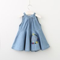 Wholesale Girls Jeans Embroider - 2017 Baby Girls Denim Bow Dresses Kids Girls Embroidered Floral Dress Babies Fashion Jeans Dress childrens Summer clothing