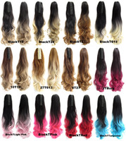 Wholesale Long Curly Wavy Hair Extensions - Wholesale- 55 Cm 170G Long Curly Wavy Ponytail Ombre Hair Extension Tail Women 12 Colors Long Buns Claw Synthetic Hair Tail Hairpiece