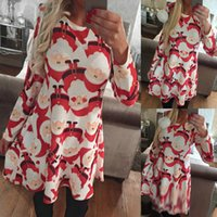 Wholesale Clothing Cartoon Adult - 2017 New Sexy Christmas dresses Womens New Year Christmas Dress cheap ladies Miss Santa Xmas dress clothing Cartoon Snowman Pattern Clothes