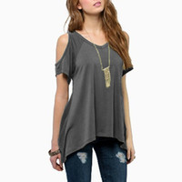 Wholesale spandex womens plus clothing for sale - Fashion Women T Shirt Tops New Spring Womens Sexy Off Shoulder Loose Irregular Hem Ladies Tops Clothes T shirt Plus size