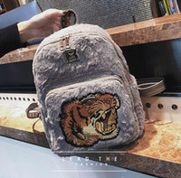 Wholesale Cute Badges - wholesale brand winter new style embroidery backpack fashion cute tiger head badge plush women backpack leisure leather embroidery handbag