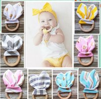 Wholesale Chevron Fabric Wholesalers - 2017 INS Baby Chevron Zigzag Teethers 28Colors Natural Wood Circle With Rabbit Ear Fabric Newborn Teeth Practice Toys Training Ring