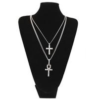 colar de strass conjunto de cristal venda por atacado-Ankh egípcio com conjunto de colar de pingente de cruz strass chave de cristal para a vida egito cruz colares conjunto de jóias de hip hop