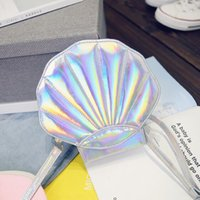 50pcs / lot Cute Beach Bag Кожаный лазер Lolita Mini Crossbody Сумки для женщин Novetly Сумки Sea Shell Shape Luxury Girl Funny Flap