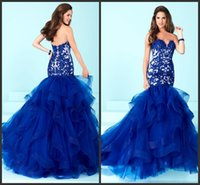 Wholesale Beautiful Girl Skirt Long - Royal Blue Cheap Long Mermaid Dress Appliques Tiered Skirt Elegant Beautiful Custom Formal Wear Sweep Train Elegant Prom Girls Dresses