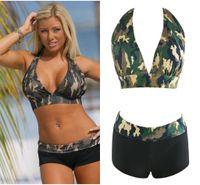 Wholesale Women S V Neck Swimwear - 10pcs Sexy Women Two Piece Swimwear With V Neck Halter Camouflage Push Up Bikini Set S M L XL QP0208