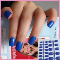 Full Nail Tips sparkle nail products - Shine Diamond Blue Candy Lady False Fake Nails Glitter Sparkle Nail Art Full Wrap Tips Easy DIY Nail Salon Product No