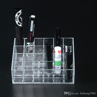 Wholesale Wholesale Nail Polish Racks - Storage Box 24 Grid Lipstick Display Divider Rack Transparent Thicken Plastic Cosmetic Nail Polish Sundries Practical Case 3 8ql F R