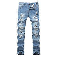 Wholesale fashion design clothing for men online - Light Blue Denim Jeans Men Spring New Ripped Jeans Fashion Straight Long Pants Holes Design Trousers Clothing for Male