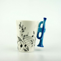 Wholesale White Porcelain Tea Cups - Novelty 220ml Horn Ceramic Cup Personality Music Note Milk Juice Lemon Mug Coffee Tea Cup Christmas New Year Gift