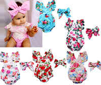 Infant baby girls floral rompers set Bodysuit with headbands Ruffles sleeve 2pcs set buttons summer Ins briefs 0-2years