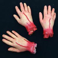 Wholesale Wholesale Human Masks - Scary Broken bloody hand Bleeding Human Organs Horror Halloween Party Decoration free shipping