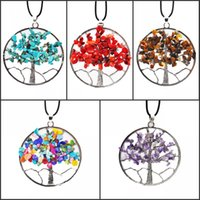 Wholesale accessories ruby stone for sale - Group buy Europe Fashion Popular Element Necklace Natural Stone Gravel Tree Of Life Colorful Natural Rope Rich Tree Necklace Jewelry Accessory B159S
