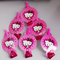 Wholesale Baby Dragon Hat - Wholesale-6Pcs Colorful hello kitty cartoon Funny Whistles Childrens Birthday Party Blowing Dragon Blowout Baby Birthday Supplies Toys