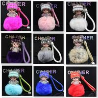 Wholesale monchichi cartoon resale online - 25Colors Handmade Cute Monchichi Keychains Crystal Kiki Pendant Rex Rabbit Pearls Chain For Bag Car Hanging Monchhichi Pendant F885