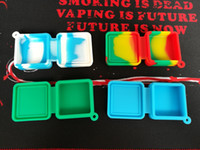Wholesale tools for shaping food - Nonstick wax containers 9ml block shape silicone container food grade jars dab tool storage jar oil holder for vaporizer vape 4 colors DHL