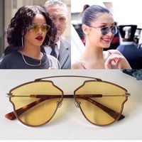 Wholesale Colored Frames Glasses - Alloy Frame Clear Colored Lens Eyewear Sunglasses with Packing Box Oculos De Sol Feminino Female Sun Glasses