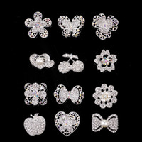 Wholesale Best Wedding Flower Bouquet White - 2017 Wedding Brooches 10 Style Silver Pearl Crystal Rhinestone Flower Bouquet Butterfly Vintage Brooch Pins Best Gift Christmas Brooches