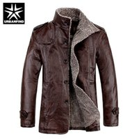 Wholesale Thick Leather Jackets - Wholesale- URBANFIND Thick Warm Men PU Leather Jacket Big Size M-4XL Plush Lining Man Winter Clothing Coats & Outerwear