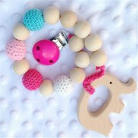 Wholesale crochet teething - Baby Wooden Teethers Care Toys Clip Dummy Holder Chain Teething Natural Wooden Beads Crochet Covered Beads Baby Gift Safe for Teething DHL