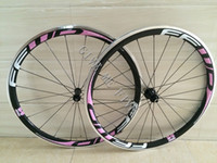 Wholesale Alloy Bicycle Wheel - 38mm Front 38mm Rear 23mm width FFWD Pink Carbon Bike Wheels Alloy Brake Surface Bicycle Wheelset Road Bicycle Carbon Wheels