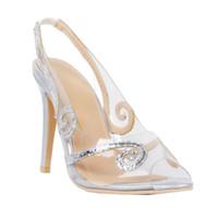 женские сексуальные кожаные босоножки оптовых-Zandina женская мода ручной ПВХ кожа Slingback высокий каблук Сексуальная партия выпускного вечера сандалии обувь серебро XD104