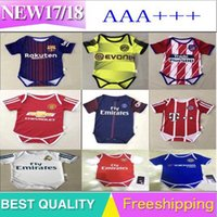Wholesale Fans Clothing - .2017 2018 New Real Madrid Baby soccer Jersey Cotton Short Sleeved Jumpsuit Baby Triangle Climb Clothes Loveclily 2017 18 baby's fans shirt