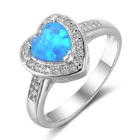 Wholesale Turquoise Rings For Women - Fairly 925 Sterling Silver Wedding Band Engagement Rings Simulated Turquoise Opal Gemstone Rings Lots For Women