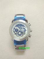 calibre 16 relógio automático venda por atacado-Relógio automático Calibre 16 44mm Homens Mostrador Preto Transparente de Volta Banda Inoxidável Montre Homme modelo