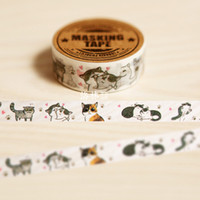Wholesale Paper Homemade - Wholesale- 2016 1PC LORRAIN original homemade Japanese and paper tape DIY hand account must have stay Meng cat kawaii washi tape masking t