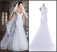 Wholesale Lace Binding - 2017 The real picture new white arrivee robe DE noiva sexy strapless mermaid applique beads back bind the bride wedding dress 635