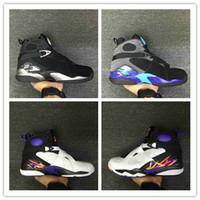 Wholesale Aqua Flats - High Quality Retro 8 Men Basketball Shoes Retro VIII Aqua retro 8 Men Sports Boots US Size 8-13