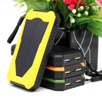 Wholesale Multi Charger For Mobile Phones - New multi-function Solar power bank with LED camping lamp 12000mah double interface external charger powerbank for Mobile phone