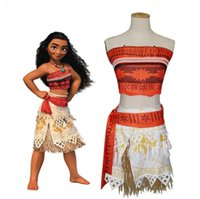 Wholesale Dressed Female Child - Movie Princess Moana Costume for Kids Moana Princess Dress Cosplay Costume Children Halloween Costume for Girls Vaiana Party Dress adult