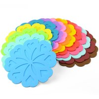 Wholesale Meal Pad - 17*0.35Cm Creative Coasters Silicon Heat Resistant Cup Mat Peach Blossom Heart Shape Meal Pads Thicken Kitchen Holder Mixed Colors
