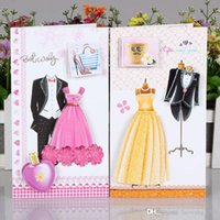 Folding Type blessing dresses - 8pcs set D Flash powder Wedding dress greeting cards envelope message card thank card holiday blessing cards