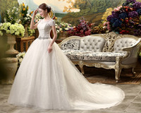 Wholesale Ball Gown Romantic - Noivas Vestidos 2017 Romantic crystal Lace Short Sleeve Wedding Dresses White Sweep Train Handmade Embroidery Wedding Gowns