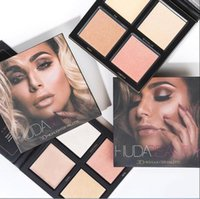Wholesale 3d Glitter Makeup - Cosmetic Kylie Huda Beauty Makeup 3D Eyeshadow Highlighter Palette 2 Colors Gold Pink Sands Editio DHL Free Shipping