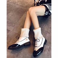 Letu269 Black White Mixed Color Brand Snow Sock Botas Knitting Lã Fios de lã Low Heel Short Ankle Boots Women Shoes, Sz 35-39