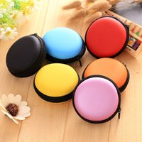 Wholesale shaped earphone - Colorful Zipper Bag Earphone Cable Mini Box SD Card Portable Coin Purse Headphone Bag Carrying Pouch Pocket Case Cover Storage