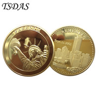 Wholesale Usa Studies - USA Freedom Metal Gold Plated Coin 40g pc, 9.11 Commemorative Coins Wholesale Uncirculated Souvenir Coins